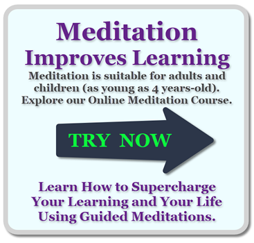 Ad Meditation Improves Learning join our Practical Guided Meditation Online Course by Chris Brooks, High Performance Learning